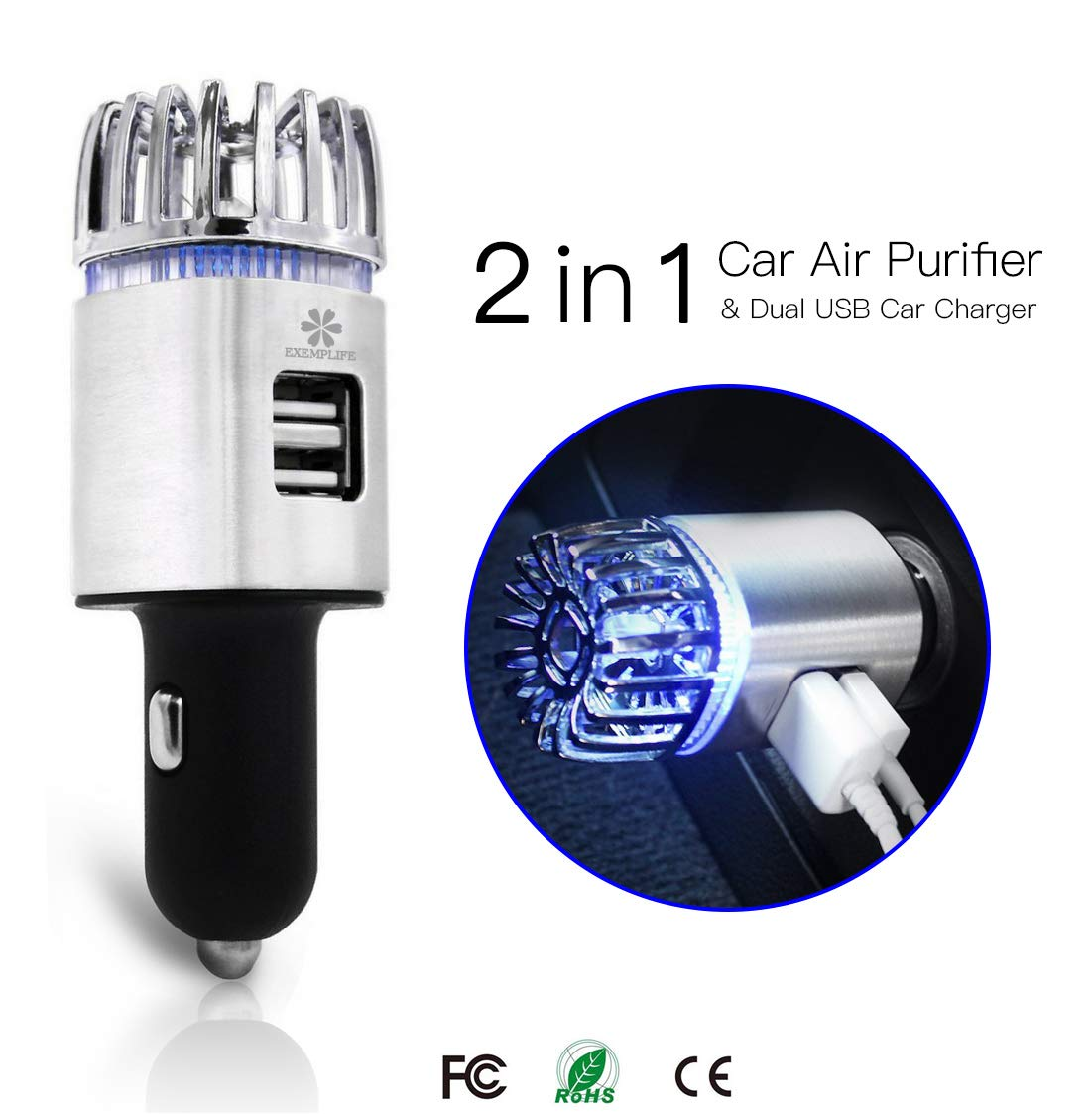 Exemplife Car Air Purifier, Freshener Adapter with 2 USB Ports,Car Air Ionizer Remove Smoke, Bad Smell and Odors,Keep The Air in Car Fresh,Champagne… Champagne…