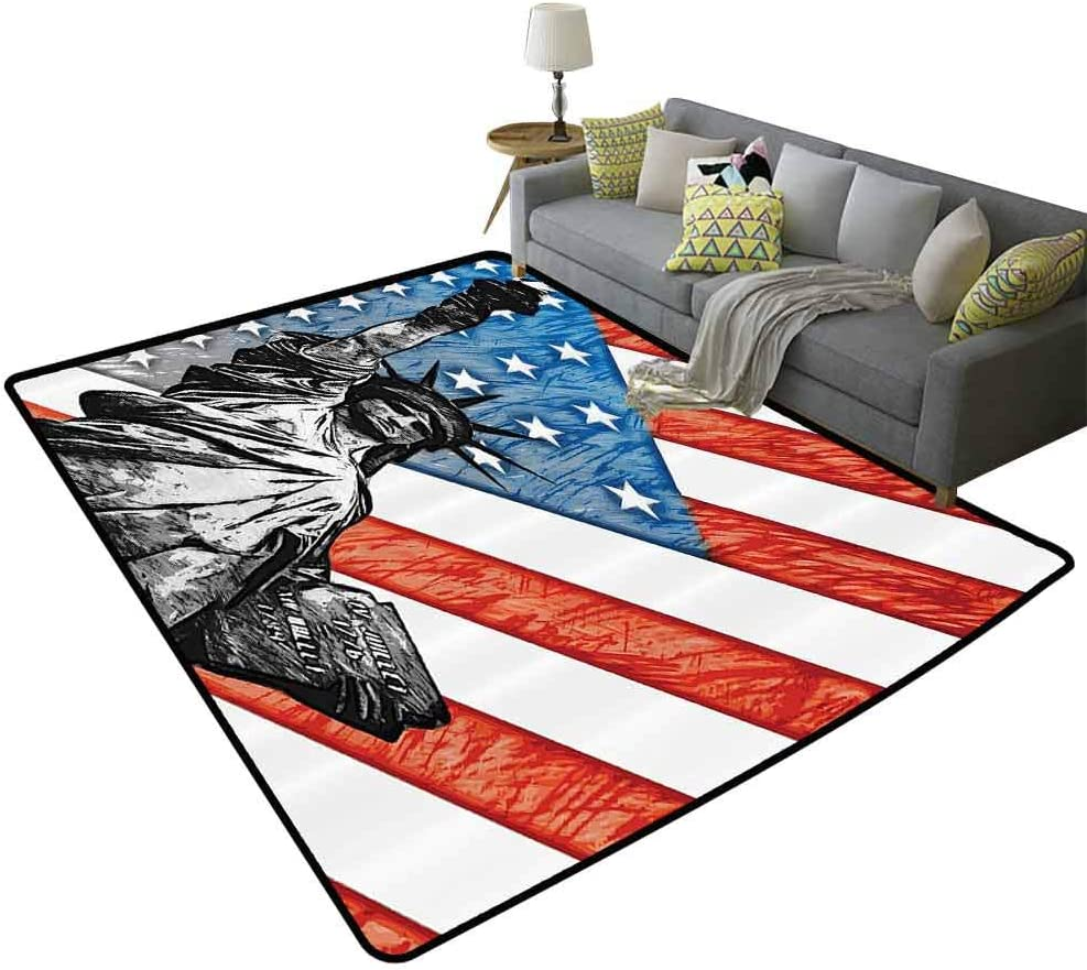 American Flag Decor Rugs Blanket Footcloth for Home Decor 6.6ft x 10ft Sketchy Statue Cultural Icon States Freedom History Country Love Artwork