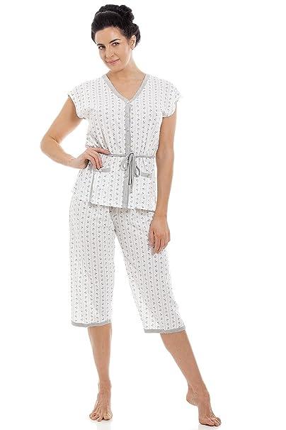 476d6abf2 Conjunto de pijama para mujer Manga corta y pantalón pirata Mezcla de  algodón  Amazon.
