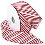 Morex Ribbon Peppermint Stripe Wired Ribbon, 2-1/2-Inch by 50-Yard Spool, Red/White