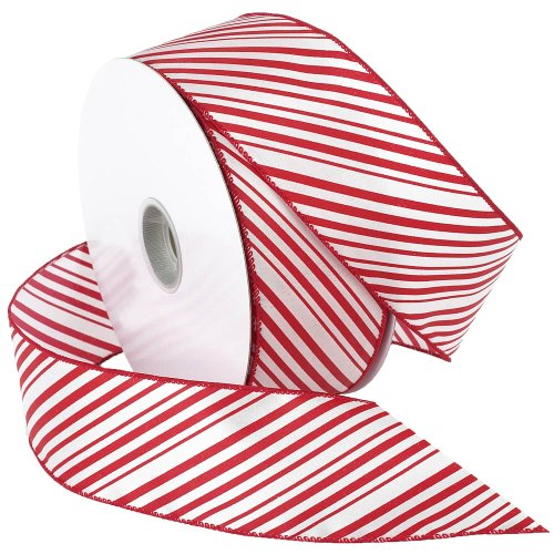 Morex Ribbon Peppermint Stripe Wired Ribbon, 2-1/2-Inch by 50-Yard Spool, Red/White by Morex Ribbon