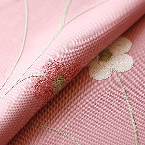 LQF Country Home Decor Pink Floral Embroidered Curtains for Bedroom Living Room Dining Room Teens Kids Girls Room Decorations Drapes , One Panel , W40 x L63 inch