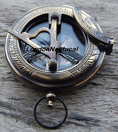 HUMAIRA NAUTICAL ANTIQUE NAUTICAL MARITIME~WEST LONDON~BRASS SUNDIAL COMPASS PUSH BUTTON COMPASS