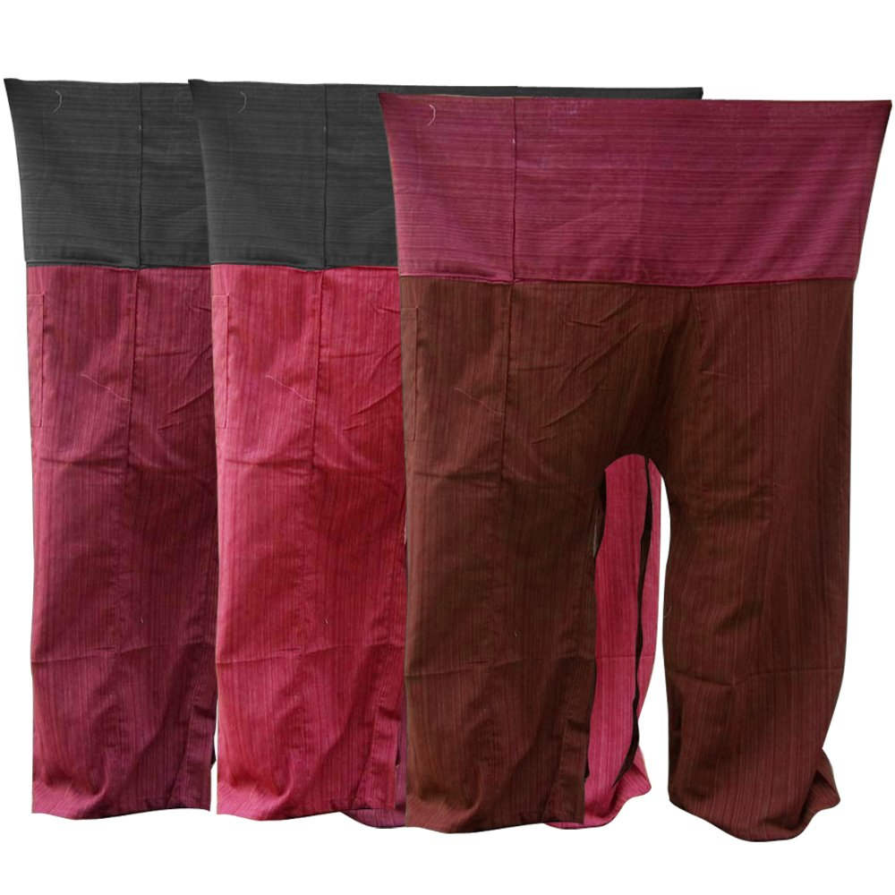 Kittiyashop Thai Fisherman Pants Yoga Trousers FREE SIZE Plus Größe Cotton [ROT, Burgundy, Braun ].