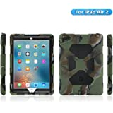 KIDSPR iPad Air 2 Case, IPad 6 Case, [Kids-proof] [Shockproof] [Scratch proof] [Drop Resistance] [Impact Resistant] Super Protection Cover Case with Stand for iPad Air 2 Tablet(2014)(Camo/Black)