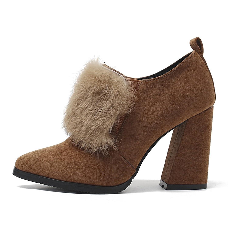 Unbekannt Damen Stiefel Blockabsatz Künstliches Haar Gummilitze Spitze Zehen Abriebfest Gemütlich Elegant Herbst Winter High-Heel Schuhe Khaki 37 EU -