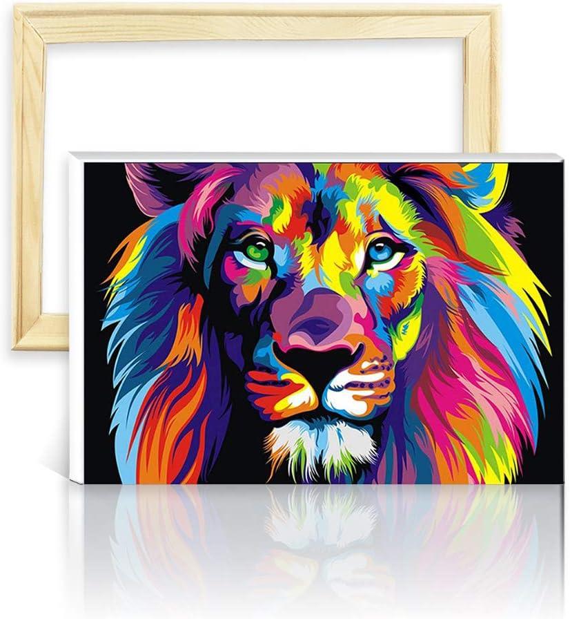 decalmile Pintura por Número de Kits DIY Pintura al óleo para Adultos Niños León Colorido 16