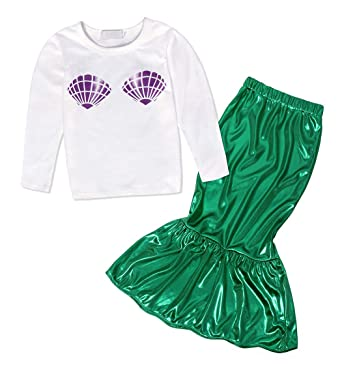 f08b39aa02 AmzBarley Girls Little Mermaid Ariel Costume Halloween Party Outfit ...