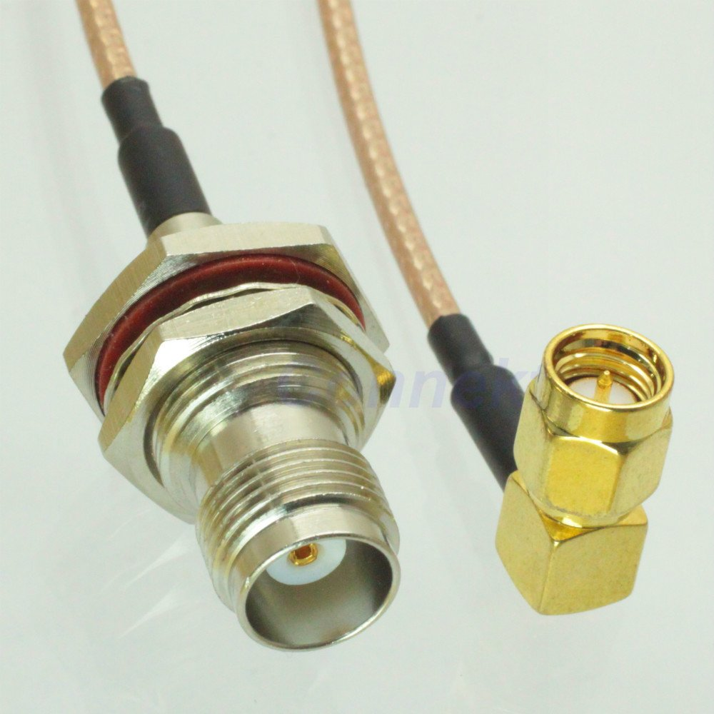 TNC female nut bulkhead to SMA male right angle RG316 pigtail cable 15cm Quick USA Shipping