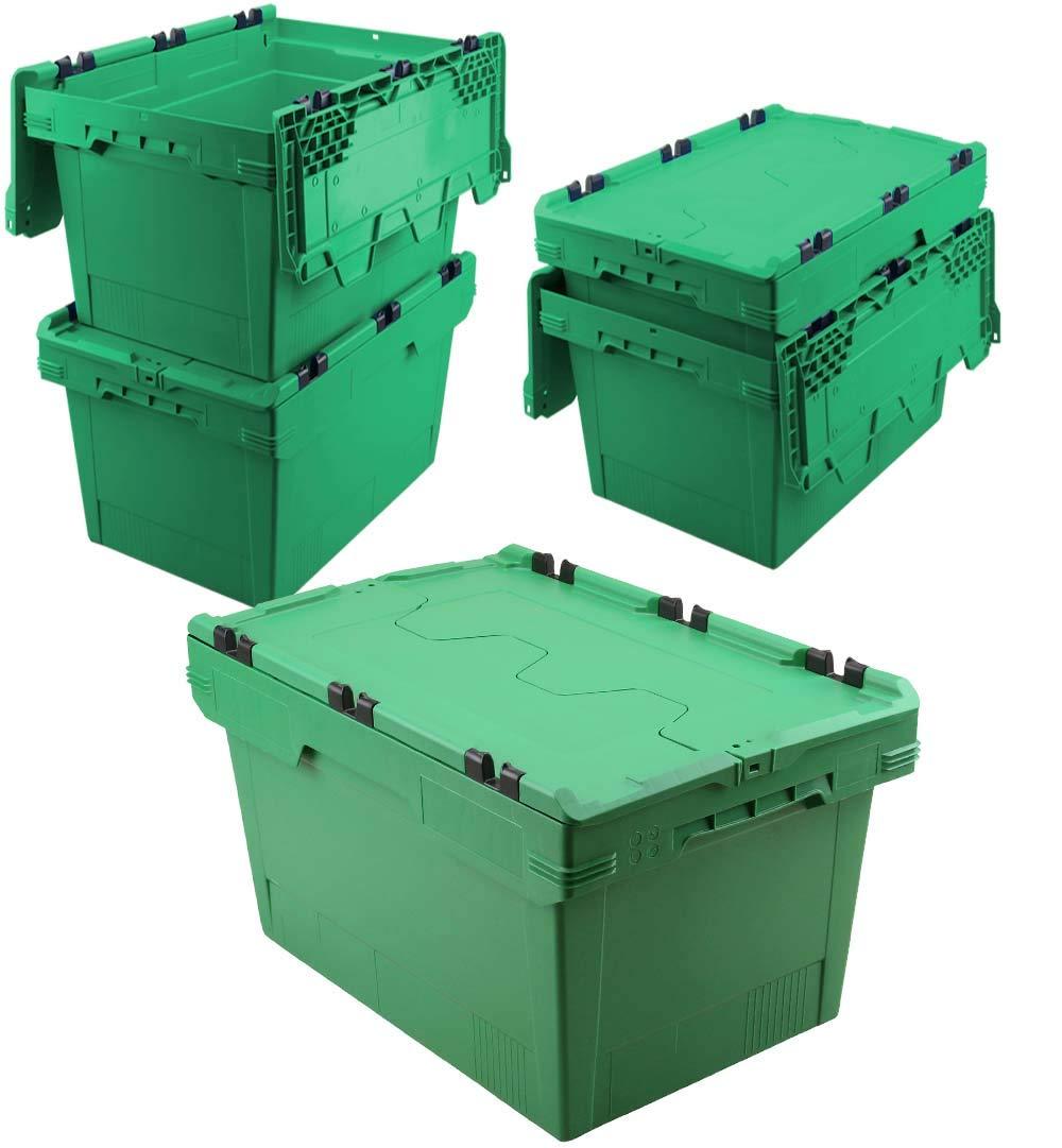 Set, 5x Mehrwegbehälter mit Klappdeckel, grün, verplompbar, LxBxH 600 x 400 x 350 mm, 58 Liter