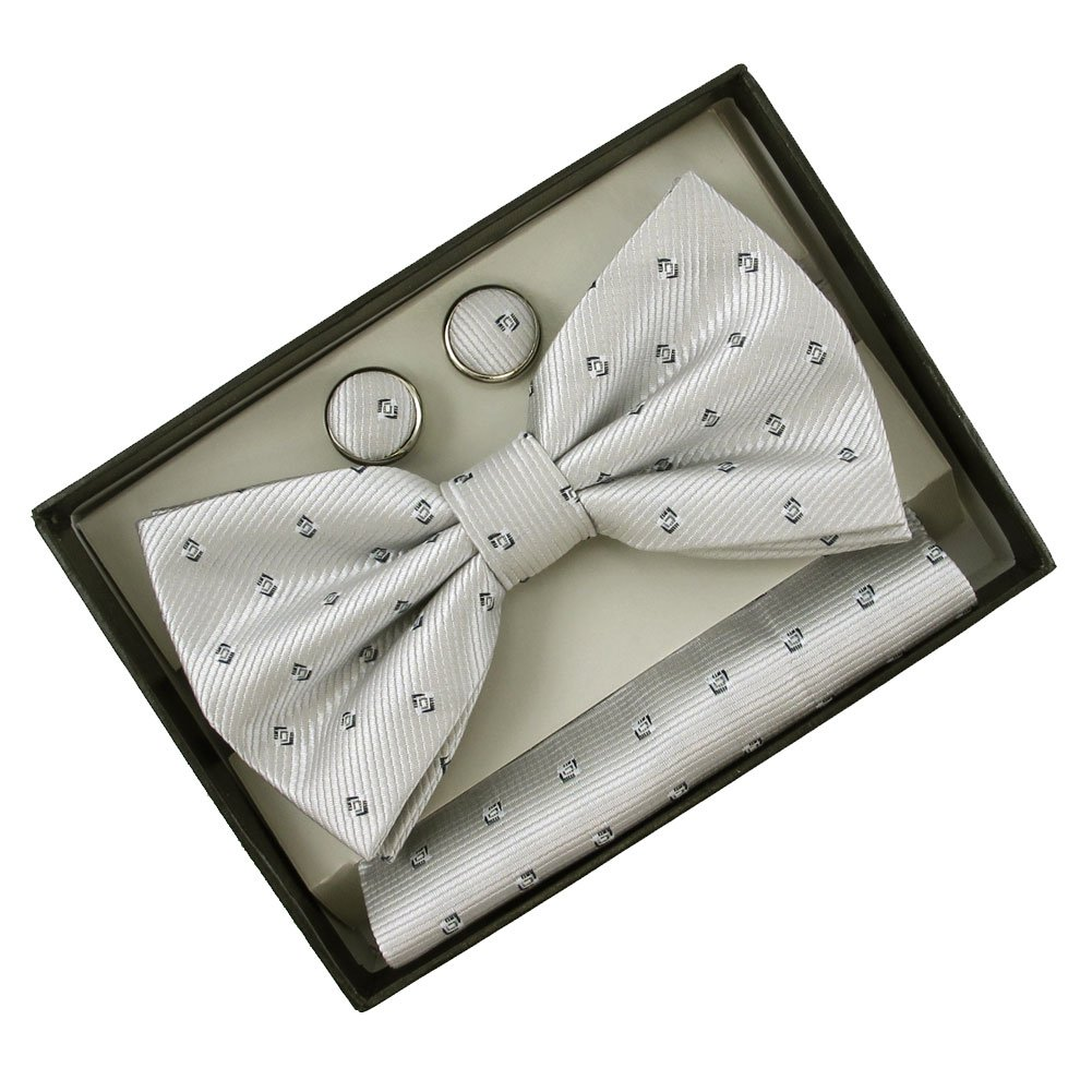 Absolute Stores Mens Grey Pattern Band Bow Tie with Matching Hanky /& Cufflinks Set