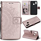 Floral Wallet Case for Huawei P20 Lite,Strap Flip Case for Huawei P20 Lite,Leecase Embossed Totem Flower Design Pu Leather Bookstyle Stand Flip Case for Huawei P20 Lite-Rose Gold