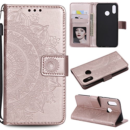 Floral Wallet Case for Huawei P20 Lite,Strap Flip Case for Huawei P20 Lite,Leecase Embossed Totem Flower Design Pu Leather Bookstyle Stand Flip Case for Huawei P20 Lite-Rose Gold by Leecase