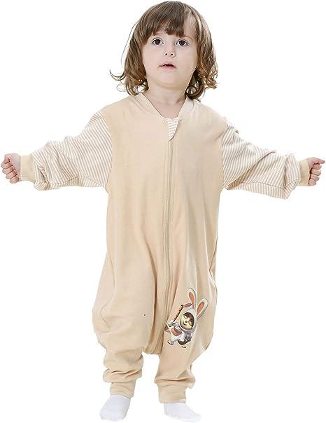 Eastery Saco De Dormir para Bebé Verano De Manga Larga Niño Estilo Simple Niña Unisex Pijamas para Todas Las Estaciones Mamelucos De Pijama Algodón Orgánico 1# Label90 Tamaño del Cuerpo 85 95Cm: