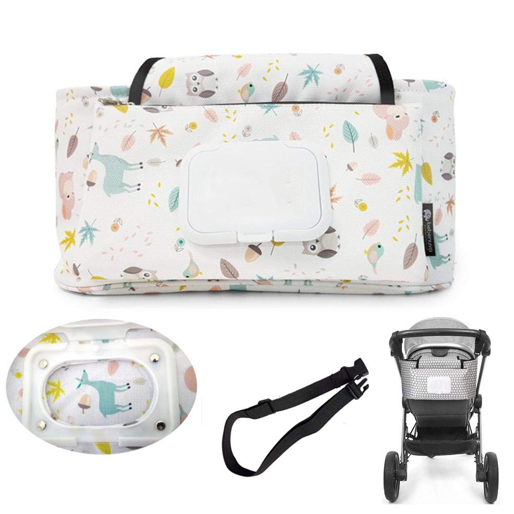 Stroller Organizer, Diaper Bag Bottle Cup Holder Pram Storage Organizer Spacious Space for All Your Baby Accessories, Beautifully Packaged,A