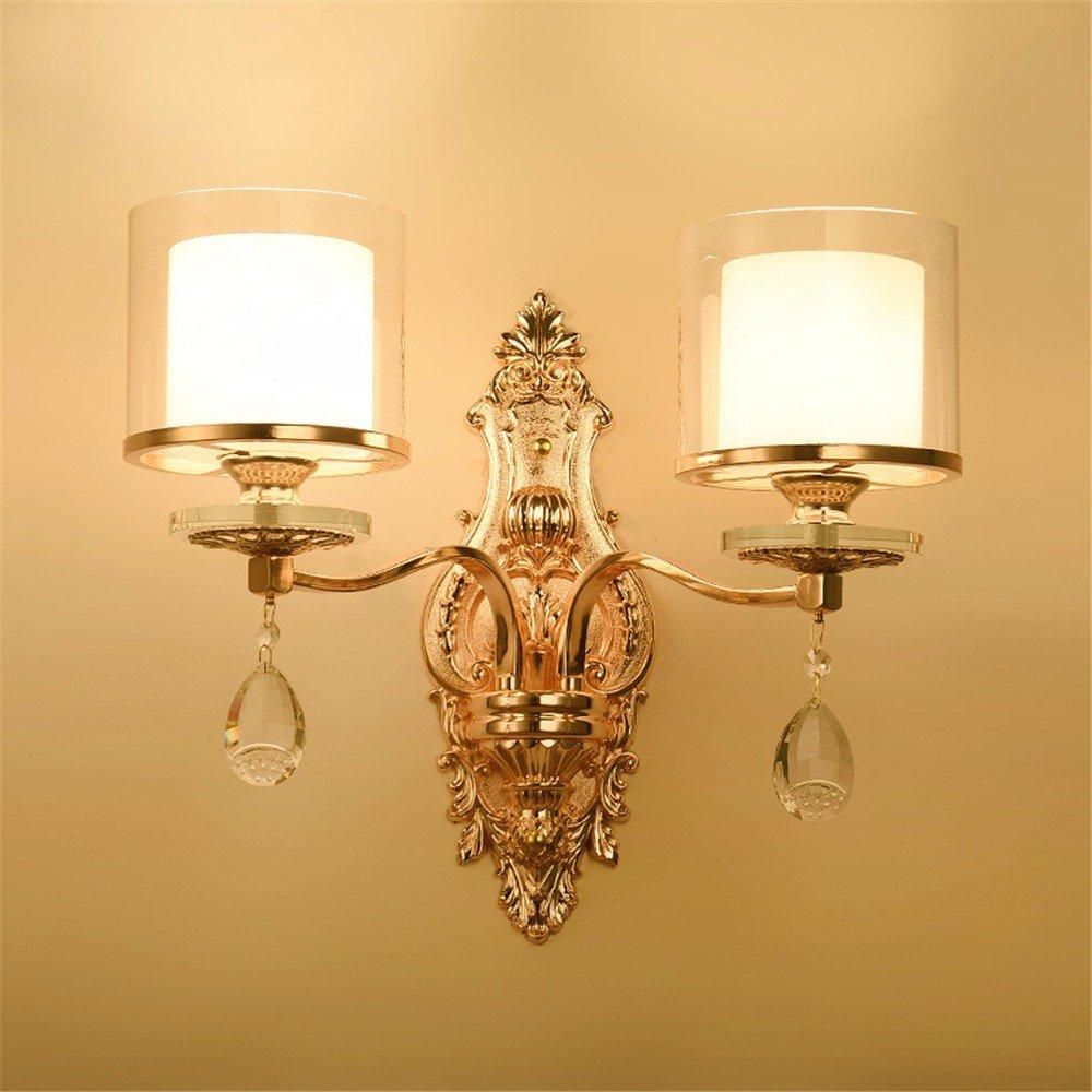 Anbiratlesn Modern Wandleuchten E27 Antik Wandlampe Vintage Rustikal Wandlampe für Schlafzimmer Wohnzimmer Bar Flur Badezimmer Küche Balkon Innen Lampe Gold LED Schmiedeeisen Crystal Wandleuchte