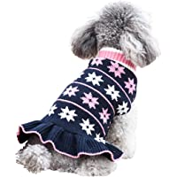 kyeese Fashion Dog Sweater Dress Turtleneck Dogs Pullover Knit with Leash Hole Fall Winter Warm…