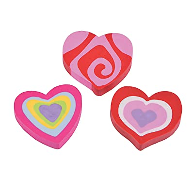 Fun Express - Valentine Heart Erasers 144 Pcs - Stationery - Pencil Accessories - Erasers - 144 Pieces: Toys & Games