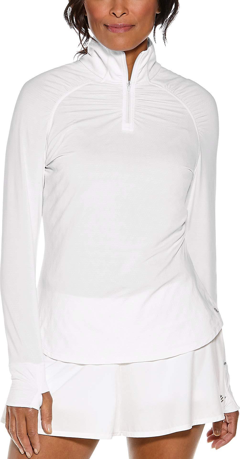 Coolibar UPF 50+ Women's Arabella Quarter-Zip - Sun Protective (X-Large- White Jacquard)