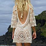 Women's Bathing Suit Cover Up White Backless Crochet Bikini Swimsuit by Jeasona