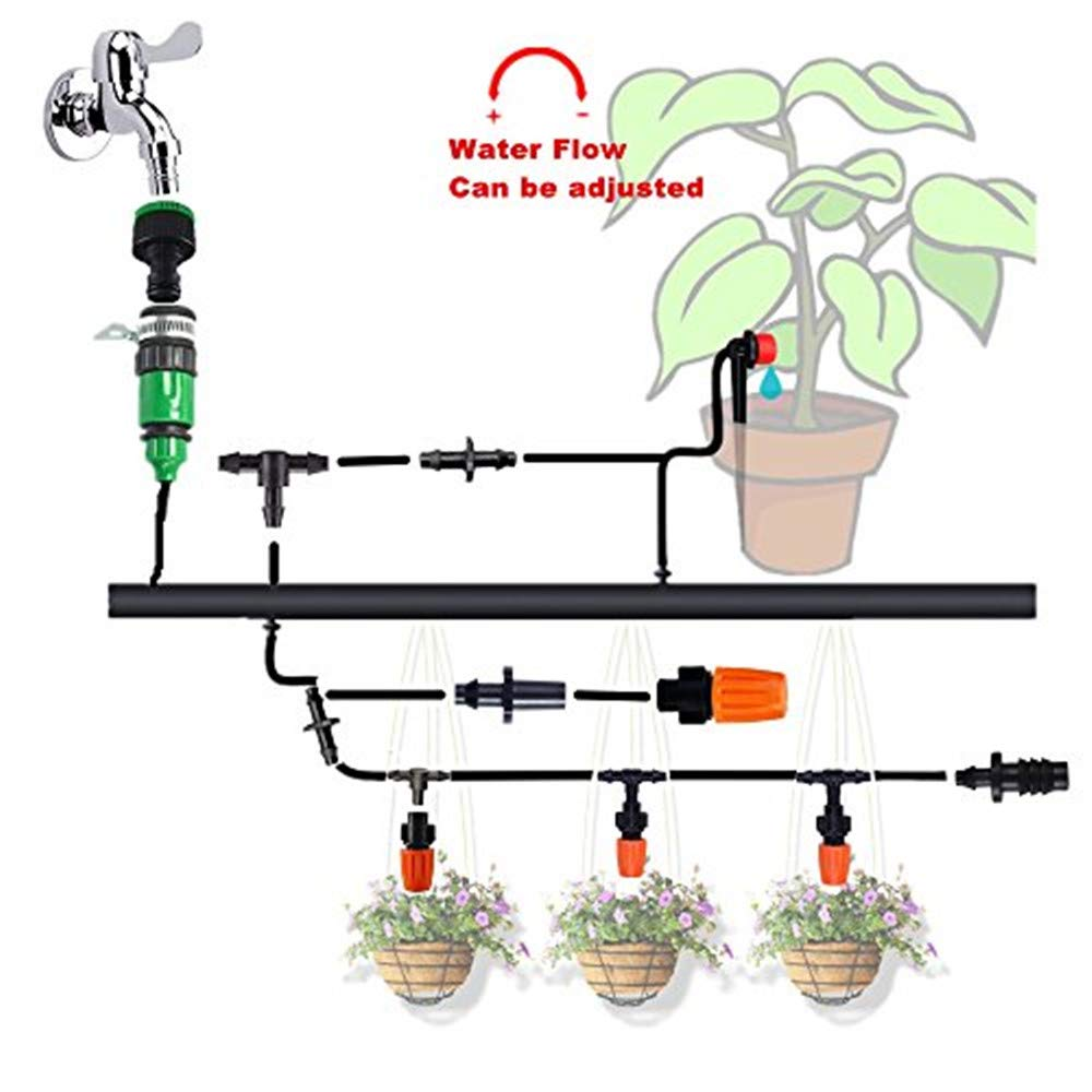 HANSILK 82ft DIY Adjustable Automatic Micro Irrigation System Kit Saving Water and Time 1//4-inch Blank Distribution Plant Self Watering Tubing Hose Atomizing Nozzles Drippers 2 Sprinkler Types