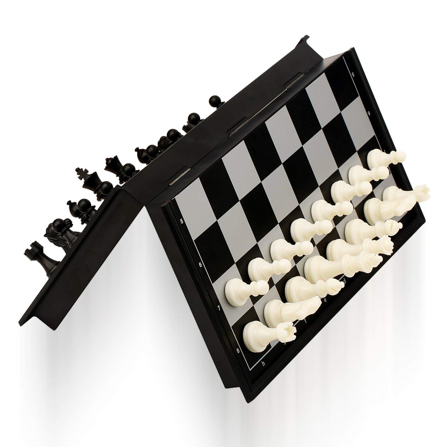 Magnetic & Folding Trave 3-in-1 Chess Set , Chess & Checkers & Backgammon , Best Chess Games Gift for Kids Beginners and Adults 9.84'' x 9.76'' by MALGOGY