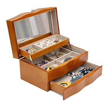 YZ-YUAN Jewelry Storage Jewellery Box Solid Wood High-End Vintage Style Display Case