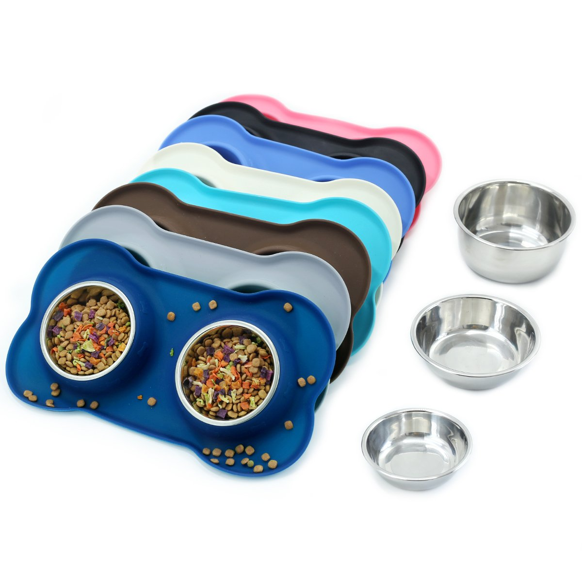 Navy bluee M(for Small Dogs) Navy bluee M(for Small Dogs) Vivaglory Dog Bowls Stainless Steel Water and Food Bowl Pet Cat Feeder with Non Spill Skid Resistant Silicone Mat, Medium, Navy bluee