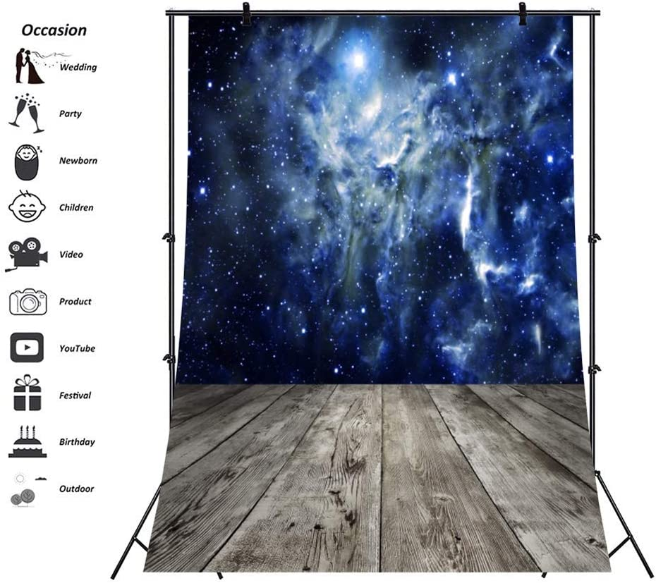 Polyester Starry Night Sky Backdrops Mysterious Galaxy Nebula-s Background 6.5x10ft Rustic Grunge Wood Texture Floor Backdrop Wooden Board Child Adults Portraits Artistic Photo Prop Boy Birthday