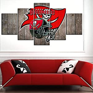 """TUMOVO Rustic Home Decor Tampa Bay House Decorations for Living Room NFL Wall Art Paintings Native American Pictures Football Canvas 5 Panel Modern Artwork Framed 60"""" Wx32 H"""