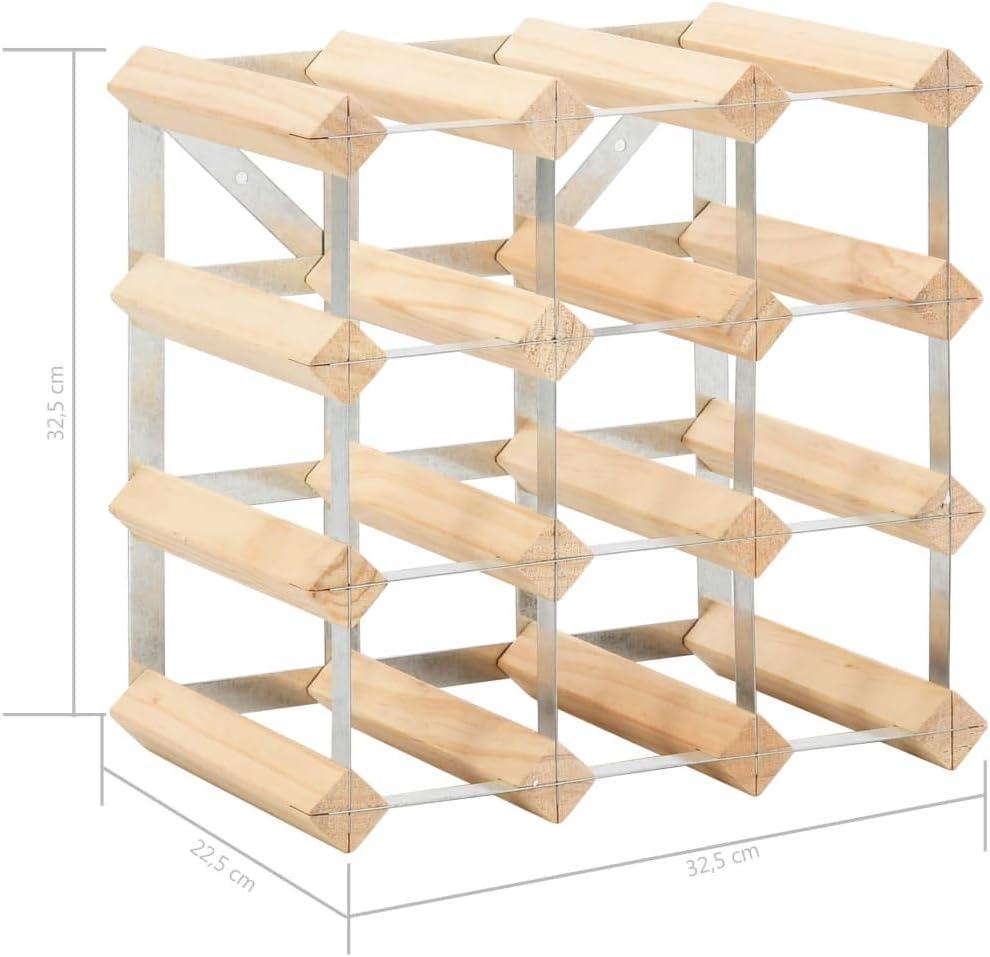 vidaXL Pin/ède Solide Casier /à Bouteilles 12 Bouteilles Porte-Bouteilles Casier /à Vin Bar /à Vin Stockage Rangement Maison Int/érieur