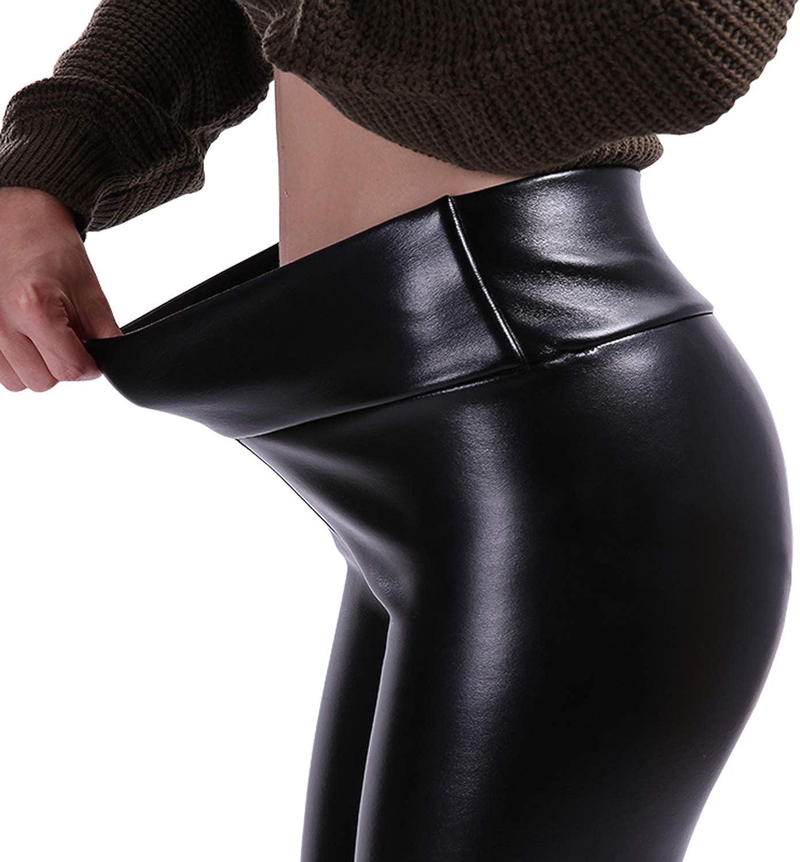 Leather Leggings Women High Waist Leggings Stretch Legging PU Leather Pants
