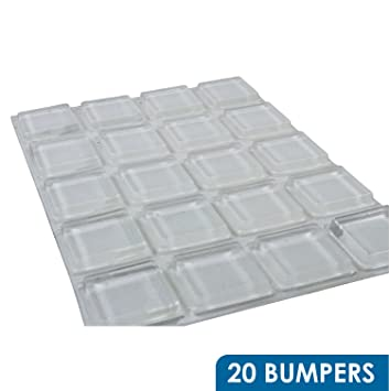 Rok Hardware 20 Pack Of Large Clear Square Self Adhesive Rubber Pad