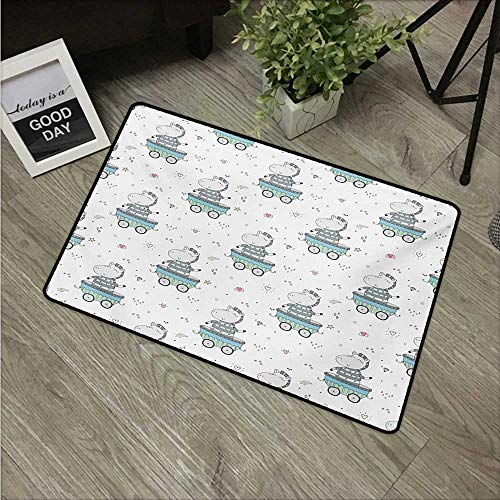 """HRoomDecor Kids,Doormat Zebra on a Stroller on a Colorful Star Gemstone Heart and Shooting Star Background W 31"""" x L 47"""" Floor Door Mat for Kids Room Multicolor"""