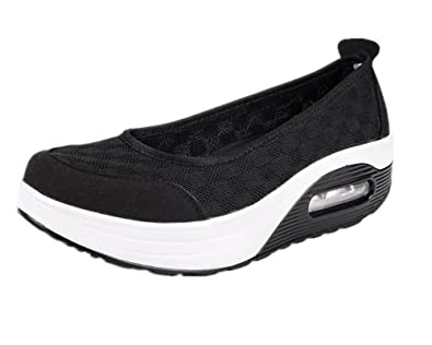 4e0218c77a95 Women Sneakers Comfort Slip On Wedges Shoes Breathable Mesh Walking Shoes  for Women (Black 35