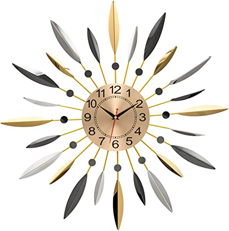 Wjieh Creative Wall Clock Mid Century Metal Wall Clock Large Starburst Decoration For Home Kitchen Living Room Office Home Kitchen