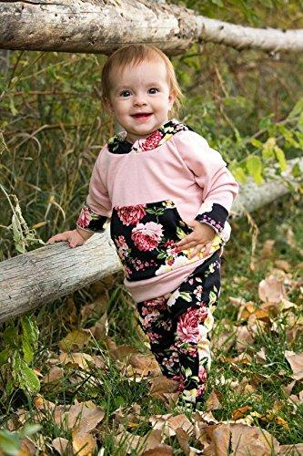69ead2f78a959 新生児 幼児 長袖パーカー&長ズボン 上下セット フラワー ピンク グリーン ベビー女の子 秋服