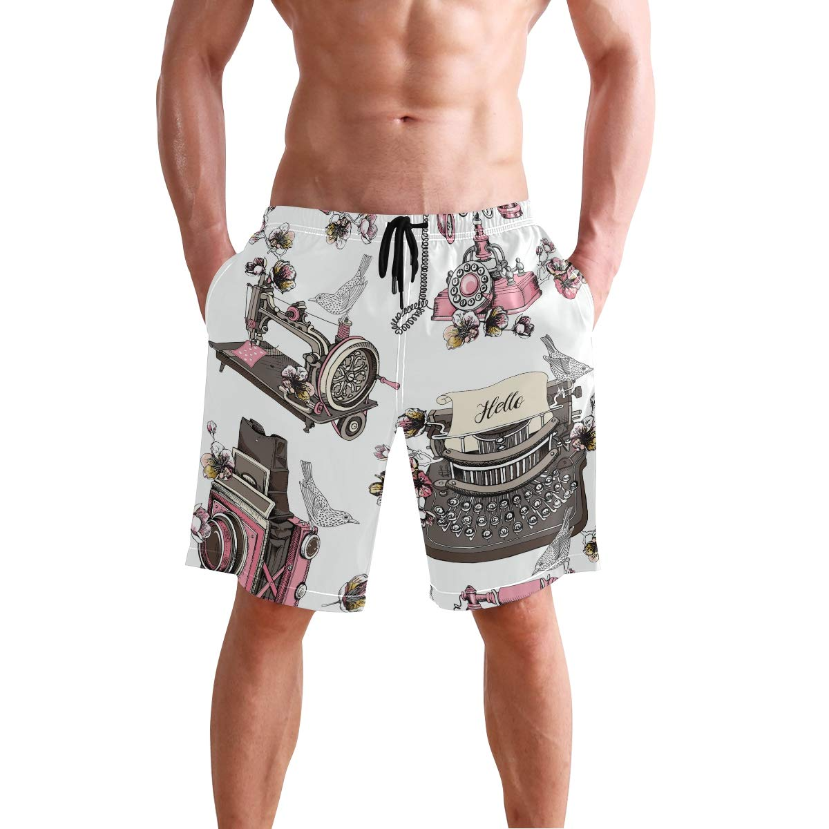 JERECY Mens Swim Trunks Vintage Retro Paris Camera Pink Quick Dry Board Shorts with Drawstring and Pockets