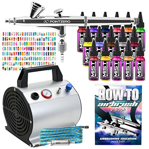 PointZero Complete Airbrush Nail Art Kit - 16 Color 240 Stencil Set (Sets Stencil Airbrush Nail)