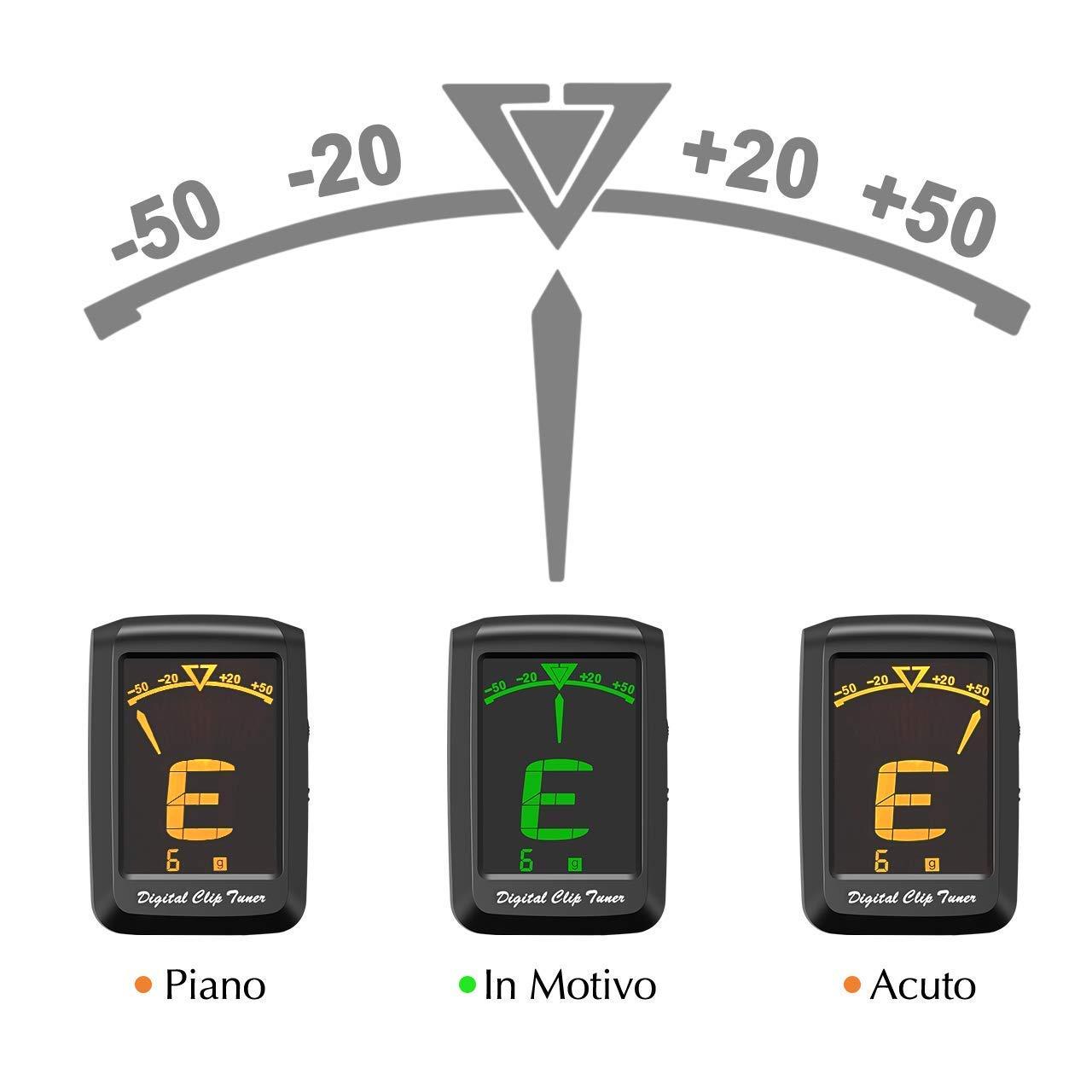 chromatique.Mise en veille automatique apr/ès 3/minutes dinutilisation. Mpow Accordeur num/érique 3/m/édiators batterie inclus basse 1,65 violon ukul/él/é adapt/é pour guitare /écran LCD