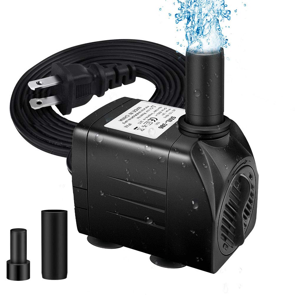 Winkeyes Fountain Pump 200GPH with 63'' Lift, 15W Small Submersible Fountain Water Pump for Outdoor Indoor Tabletop Water Fountain, Aquarium, Fish Tank, Hydroponic, Pond, 6ft Power Cord, 2 Nozzles by Winkeyes