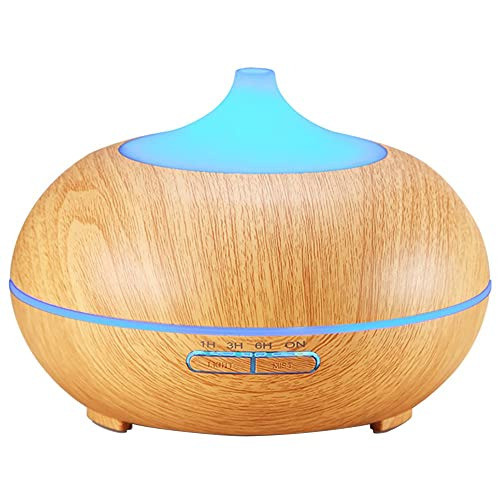 Criacr 300ml Essential Oil Diffuser, Wood Grain Ultrasonic Humidifier, Air Humidifier with 4 Timer Settings, 10 Hours Continuous Mist, 7 Color Changing LED, for Home, Yoga, Office, Spa, Bedroom