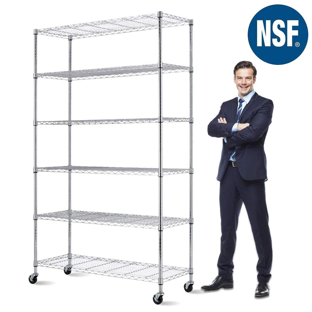 Storage Metal Shelf 6 Tier 82''x48''x18'' Wire Shelving Unit with Wheels Sturdy Steel Layer Rack with Casters Heavy Duty for Restaurant Garage Pantry Kitchen Space-Saving Overall Chrome Kitchen Rack
