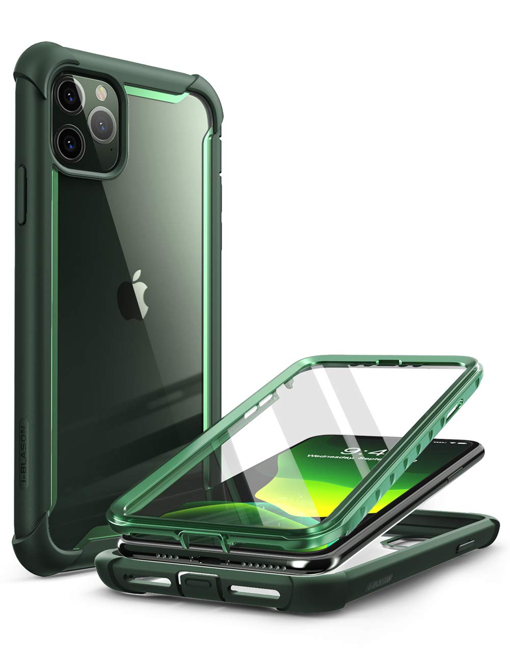 i,Blason Ares Case for iPhone 11 Pro Max 2019 Release, Dual Layer Rugged  Clear Bumper Case with Built,in Screen Protector (Green)