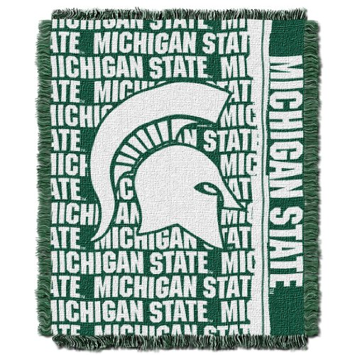 The Northwest Company Officially Licensed NCAA Michigan State Spartans Double Play Jacquard Throw Blanket, 48