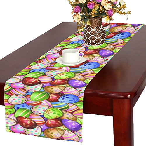 InterestPrint Unique Colorful Easter Eggs Polyester Table Runner Placemat 16 x 72 inch, Spring Egg Table Cloth for Office Kitchen Dining Wedding Party Home Decor