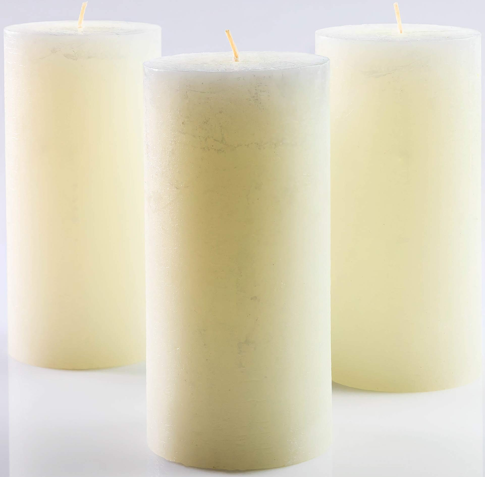 Set of 3 Ivory Unscented Pillar Candles 3 x 6 inch for Weddings Restaurant Home Decoration Spa Church Smokeless
