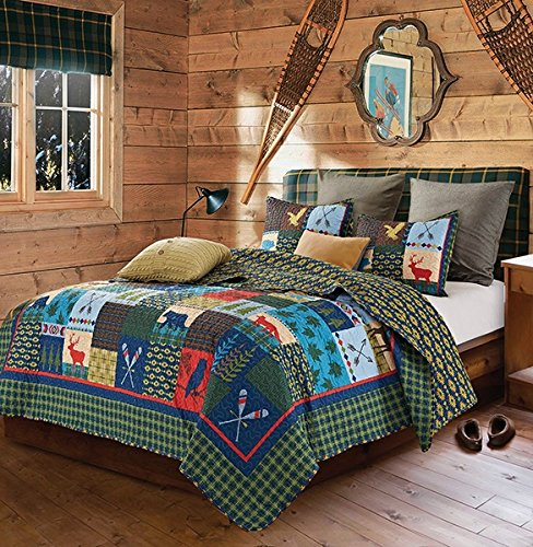 Duke Imports 3-Piece Lake and Lodge Quilt Set Queen Size:Queen