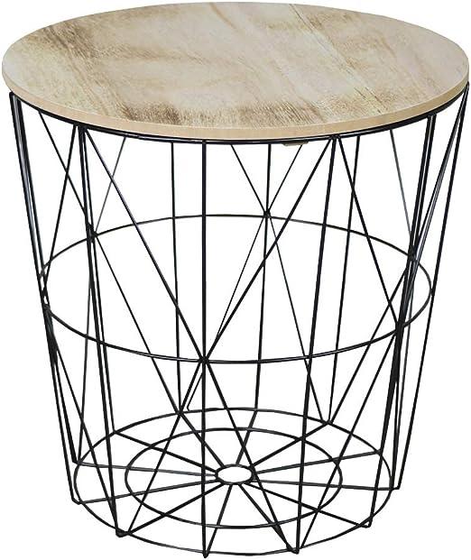Mesa auxiliar de madera, cesta de alambre de metal, color negro ...