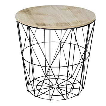 Black metal wire basket wooden top side table amazon kitchen black metal wire basket wooden top side table greentooth Images